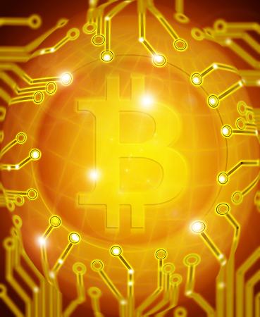 bitcoin with circuit golden digital illustration