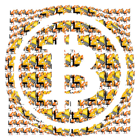 bitcoin symbol and many miners digital illustration