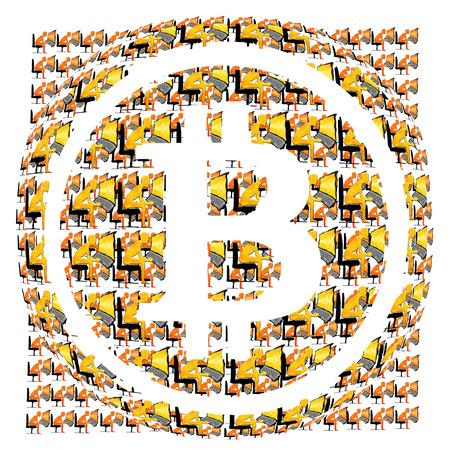 bitcoin symbol and many miners digital illustration