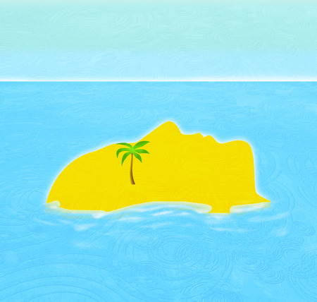 man profile island with palm digital illustration