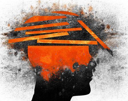 broken human head conceptual digital illustration