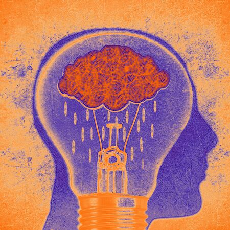 human head silhouette with cloud rain and lightbulb conceptual digital illustration