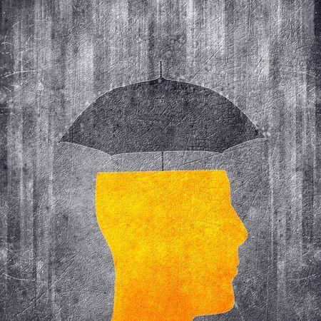 human head and umbrella  conceptual digital illustration