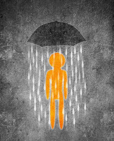 human figure and umbrella conceptual digital illustration