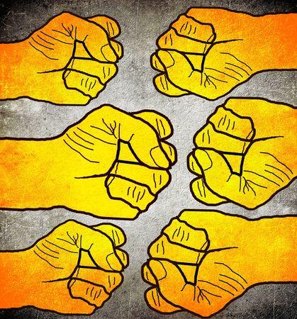 six orange fist conceptual digital illustration