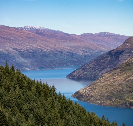 Hiking view over lake in Queenstown