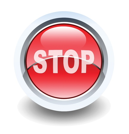 Stop sign glossy button for web applications