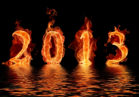 2013 new year in flame Apocalypse concept Stock Photo