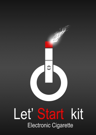 Start button that simulates an electronic cigarette Stock Photo