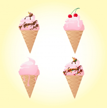 thawing: Four Ice-cream on  a yellow background, an illustration Illustration
