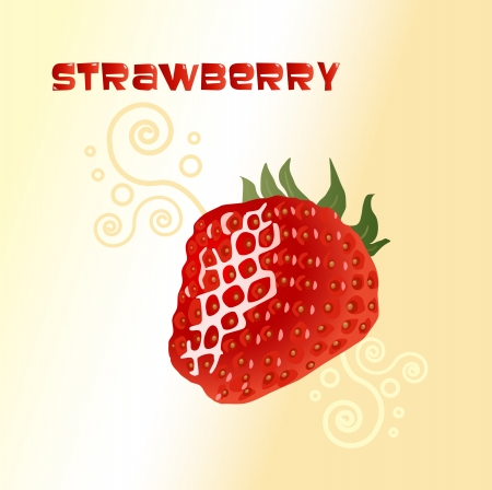 Ripe strawberry on a yellow background with a pattern