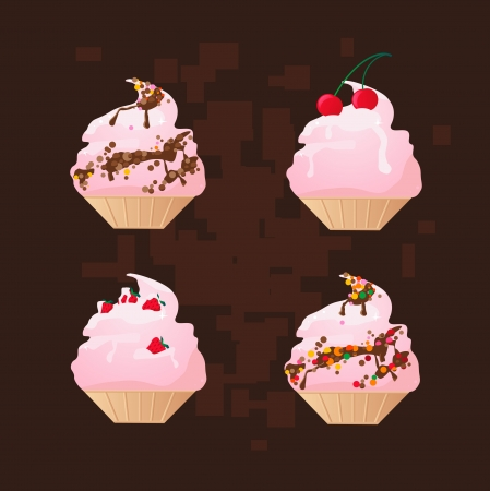 Four pink cakes on a brown background, an illustration