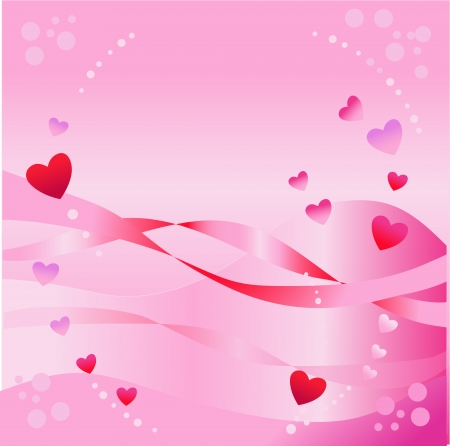 Red hearts on a pink background Illustration
