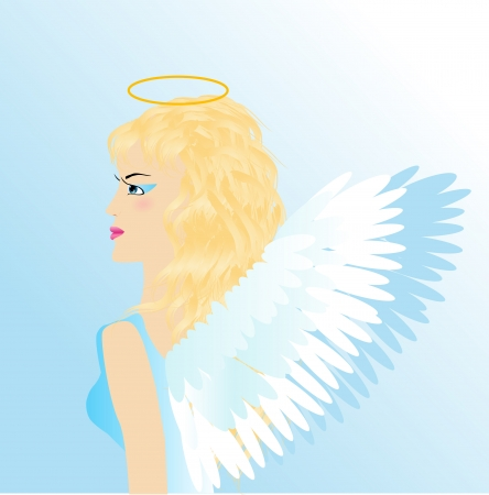 feminity: The girl an angel with wings on a blue background, an illustration