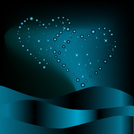 Two hearts from stars and blue waves on a dark background Vector
