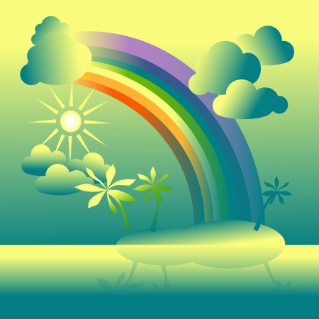The island with palm trees.The yellow sky with the sun, a rainbow and clouds Illustration