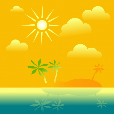 hot day: The island with palm trees,The yellow sky with the sun and clouds