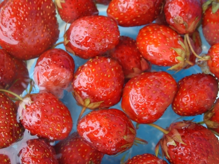 Many a ripe strawberry in water Stock Photo