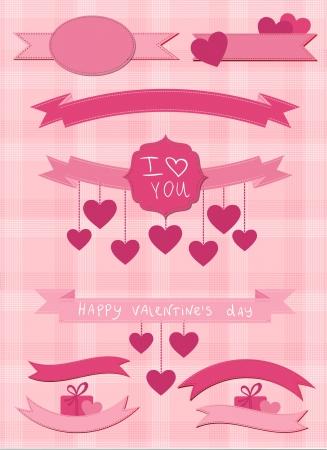 mo�os rosas: Conjunto de cintas de color rosa y etiquetas Vectores
