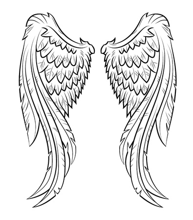 tatouage ange: ailes vecteur