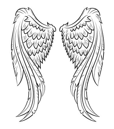 tatuaje de aves: alas de vectores