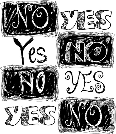 yes no: sketchy words yes and no Illustration