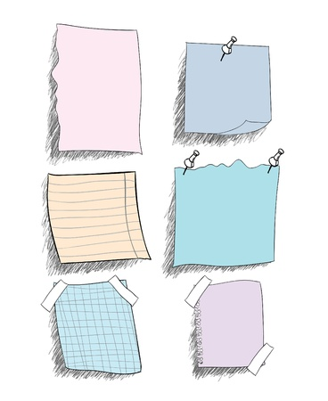 set of  sketchy coloured   paper notes with pin, eps 10