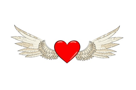 vector wings and heart Vector