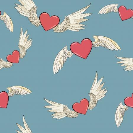 벡터 원활한 날개와 심장 일러스트