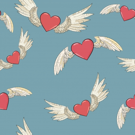 angel silhouette: vector seamless wings and heart