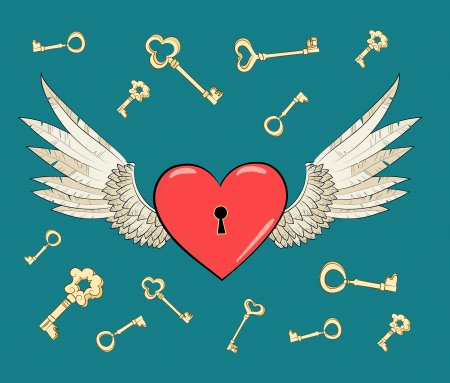 keys to heaven: vector wings and heart