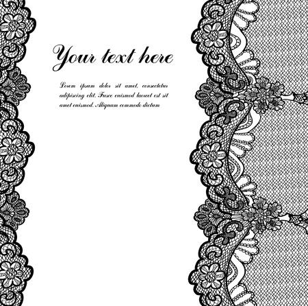 bordures fleurs: dentelle noire Illustration
