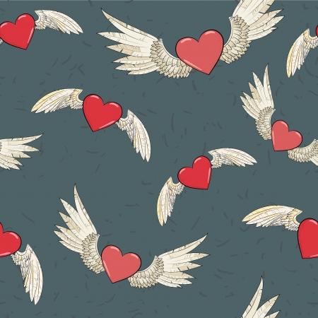 grunge wings: vettoriali senza soluzione di continuit? le ali e il cuore Vettoriali