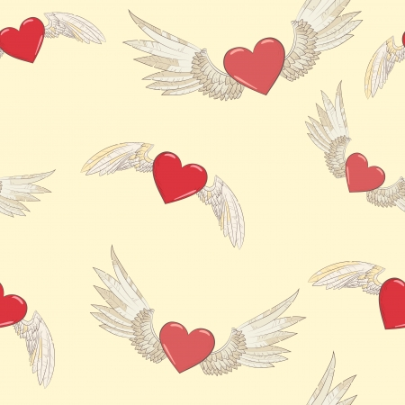 seamless pattern. wings and hearts.  Vector