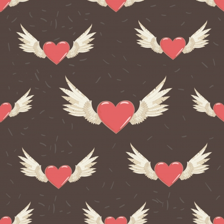 seamless pattern. wings and hearts. photo
