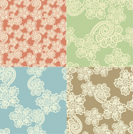 set of four seamless  lace backgrounds photo