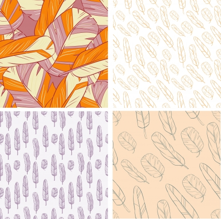 set of 4 Feather seamless backgrounds Stock Photo