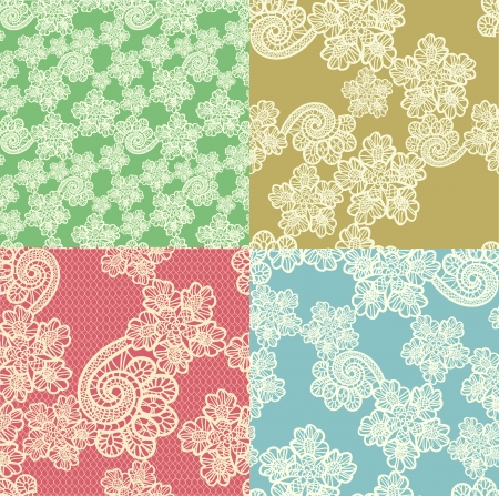 set of four seamless  lace backgrounds Vector