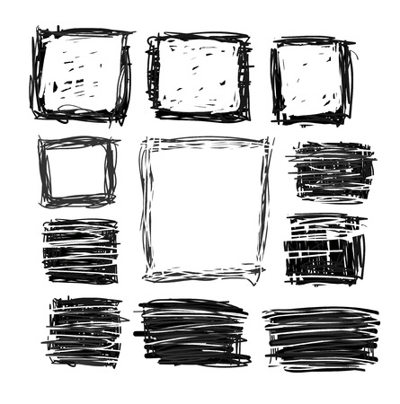set of hand drawn squares Vector