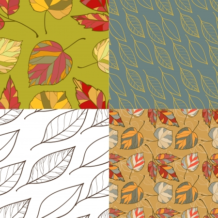 set of four autumnal patterns Illustration