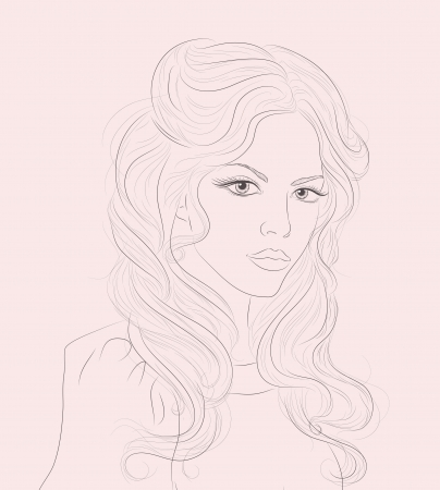 lines: sketch of beautiful girl