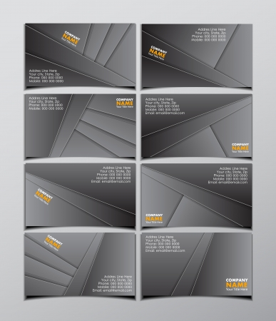 set of eight business visit cards
