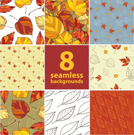 set of eight seamless backgrounds Illustration