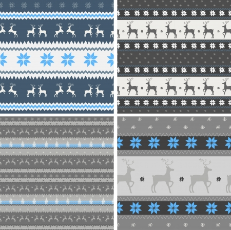 four seamless christmas patterns Vector