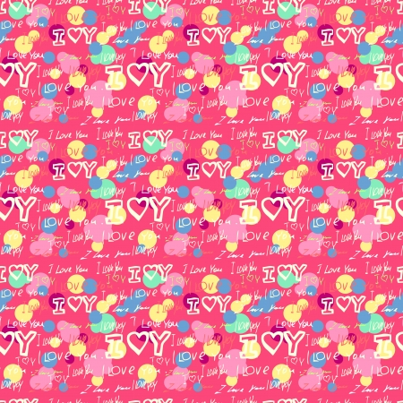 words i love you on pink  Vector