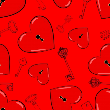 Heart and keys, seamless pattern Vector