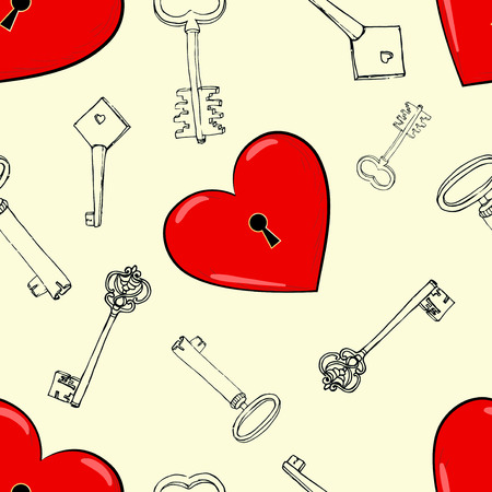 seamless pattern with hearts and keys Vector