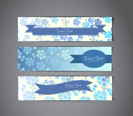 set of three vintage banners Vector