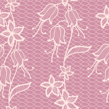 Flower pink lacy seamless background, vintage vector illustration Vector