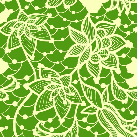 Flower green lacy seamless background, vintage vector illustration Vector